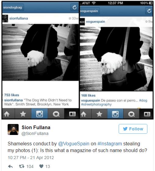 Instagram copyright Case